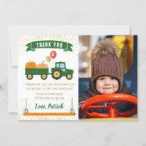 Tractor Pumpkin Fall Birthday Photo Thank You Card