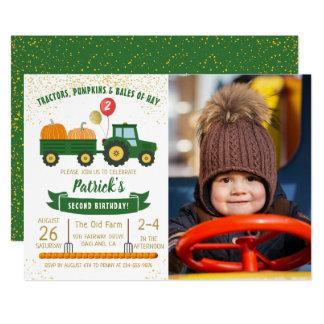 Tractor Pumpkin Fall Boy Photo Birthday Invitation