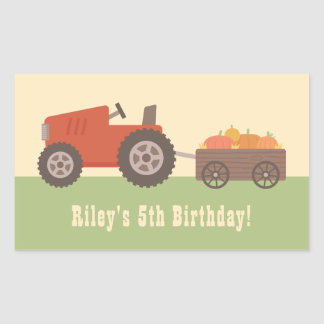 Tractor Pumpkin Kids Birthday Party Favor Stickers
