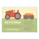 Tractor Pumpkin Kids Birthday Party Invitations at Zazzle