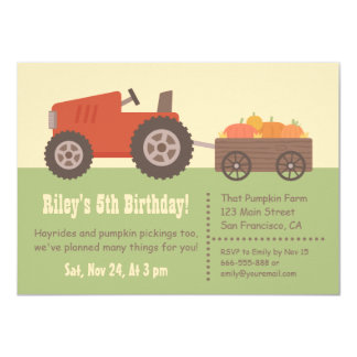 tractor pumpkin kids birthday party invitations