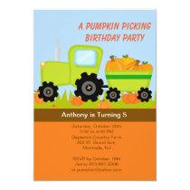 Tractor Pumpkin Picking Birthday Party Invitation
