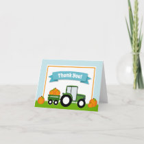 Tractor Pumpkin Thank You Card Folded Note Card