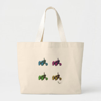 tractor rainbow large tote bag
