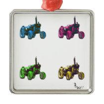 tractor rainbow metal ornament