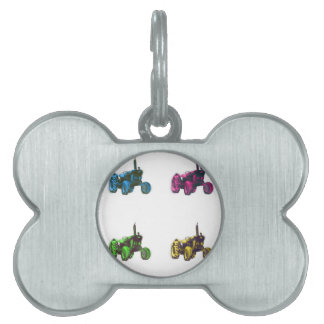 tractor rainbow pet name tag