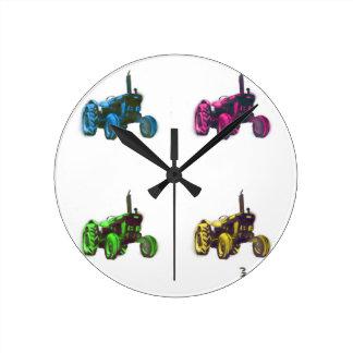 tractor rainbow round clock