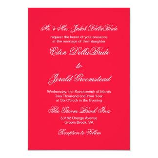 Tractor Red Bold Monochrome Wedding Invitation