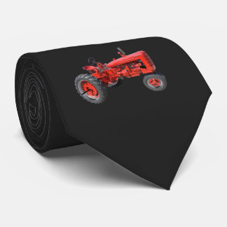 Tractor Red Vintage Black Neck Tie