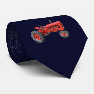 Tractor Red Vintage Navy Blue Neck Tie