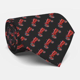 Tractor Red Vintage Pattern Black Neck Tie