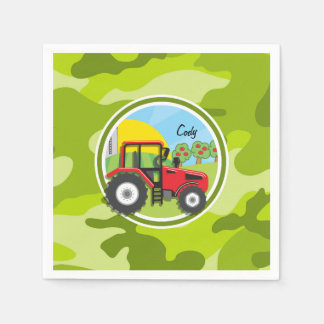 Tractor rojo; camo verde claro, camuflaje servilletas de papel