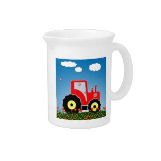 Tractor rojo del juguete jarras para bebida