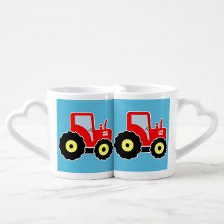 Tractor rojo del juguete set de tazas de café