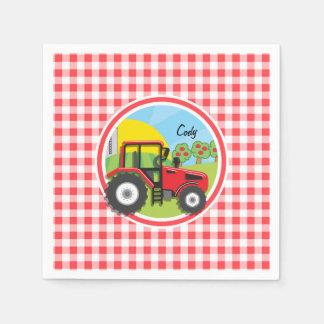 Tractor rojo en la guinga roja y blanca servilletas desechables