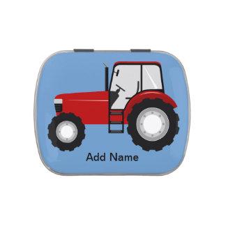 Tractor rojo frascos de caramelos