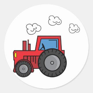 Tractor rojo pegatina redonda
