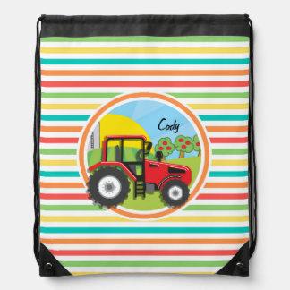 Tractor rojo Rayas brillantes del arco iris Mochilas