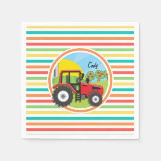 Tractor rojo; Rayas brillantes del arco iris Servilletas De Papel