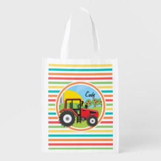 Tractor rojo Rayas brillantes del arco iris Bolsas Para La Compra
