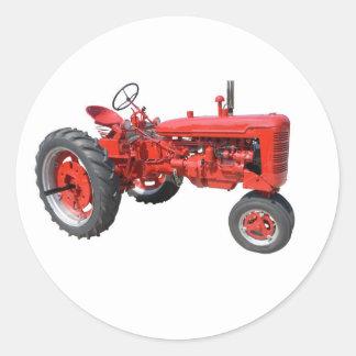 tractor rojo viejo pegatina redonda