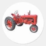 tractor rojo viejo pegatinas redondas