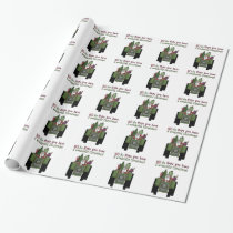 Tractor Santa Holiday wrapping paper