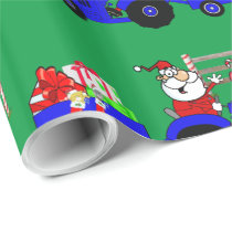 Tractor Santa With Gifts Christmas Wrapping Paper