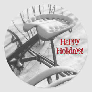Tractor Seat in Snow: Happy Holidays Envelope Seal Classic Round Sticker