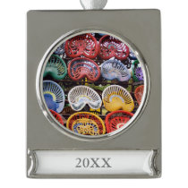 Tractor Seats at Tractor Show Silver Plated Banner Ornament