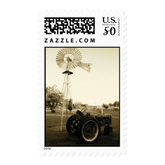 Tractor Stamp: Black/White Tractor & Windmill Postage