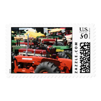 Tractor Stamp: Colorful Tractors Postage