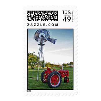 Tractor Stamp: Red Tractor and Old Windmill Postage Stamps