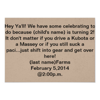 tractor theme 2nd birthday invitation