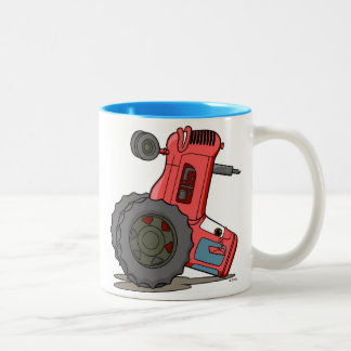 Tractor Tipped Over Two-Tone Coffee Mug
