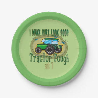 Tractor Tough 1st Birthday Paper Plate