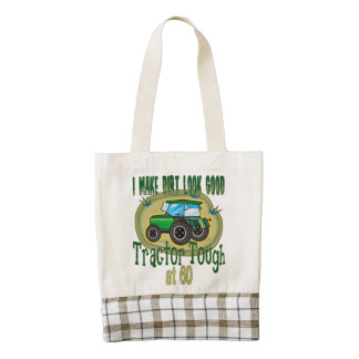 Tractor Tough at 60 Birthday Zazzle HEART Tote Bag