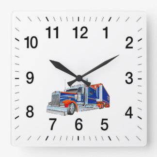 Tractor Trailer Square Clock For You To Customize