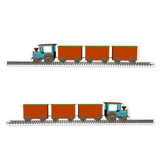 Tractor Train Engine and Red Cars Sticker