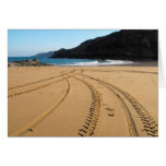Tractor tyre marks crossing over greeting card