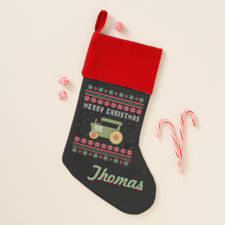 Tractor Ugly Christmas Sweater Christmas Stocking
