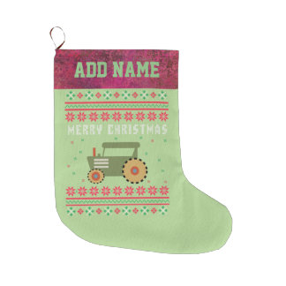Tractor Ugly Christmas Sweater Large Christmas Stocking