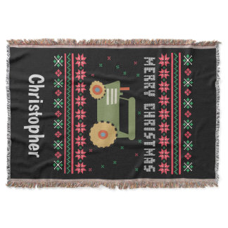 Tractor Ugly Christmas Sweater Throw Blanket