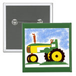 Tractor under Blue Sky 2 Inch Square Button