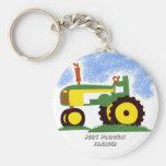 Tractor under Blue Sky Basic Round Button Keychain