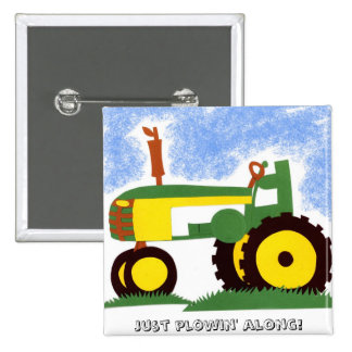 Tractor under Blue Sky Button