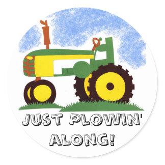 Tractor under Blue Sky Classic Round Sticker