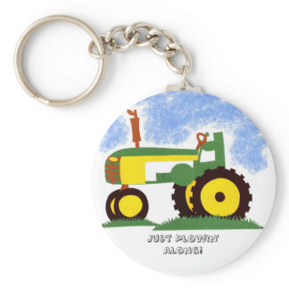 Tractor under Blue Sky Keychain