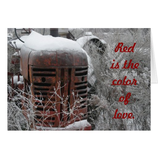 Tractor Valentine Cards : Tractor valentine card red is the color of love zazzle