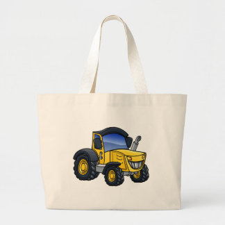 Tractor Vehicle Cartoon Large Tote Bag